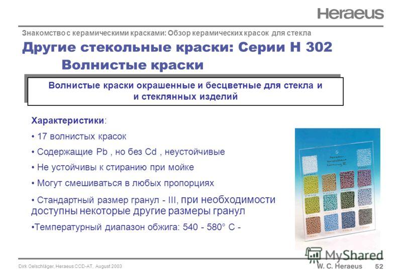 Dirk Oelschläger, Heraeus CCD-AT, August 2003 Другие стекольные краски: Серии H 302 Волнистые краски 52 Знакомство с керамическими красками: Обзор керамических красок для стекла Характеристики: 17 волнистых красок Содержащие Pb, но без Cd, неустойчив