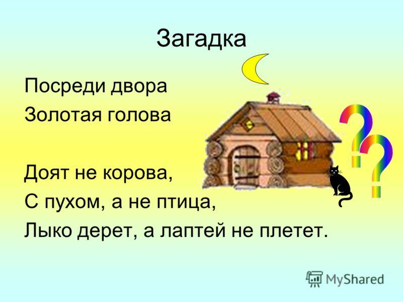 Загадка Посреди двора Золотая голова Доят не корова, С пухом, а не птица, Лыко дерет, а лаптей не плетет.