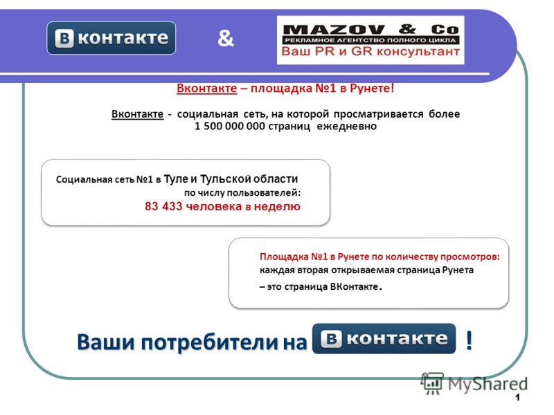 1 Ваши потребители на ! Социальная сеть 1 в Туле и Тульской области по числу пользователей: 83 433 человека в неделю Площадка 1 в Рунете по количеству просмотров: каждая вторая открываемая страница Рунета – это страница ВКонтакте. Вконтакте – площадк