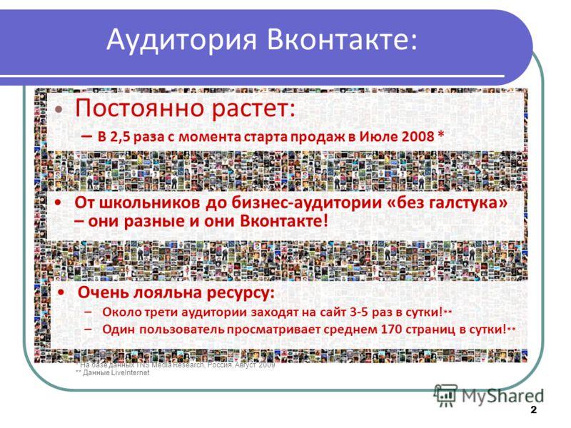 2 Постоянно растет: – В 2,5 раза с момента старта продаж в Июле 2008 * Очень лояльна ресурсу: –Около трети аудитории заходят на сайт 3-5 раз в сутки! ** –Один пользователь просматривает среднем 170 страниц в сутки! ** * На базе данных TNS Media Resea