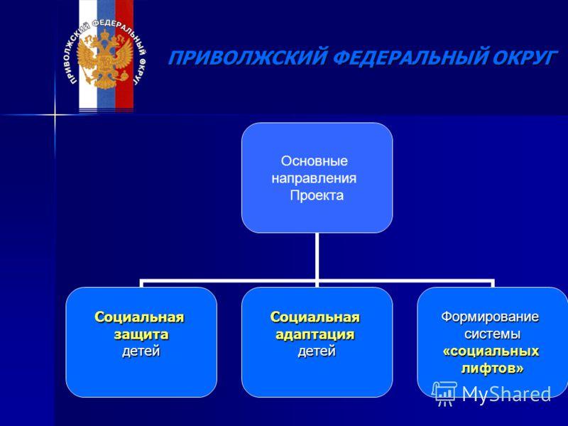 Основные направления Проекта СоциальнаязащитадетейСоциальнаяадаптациядетейФормированиесистемы«социальныхлифтов»