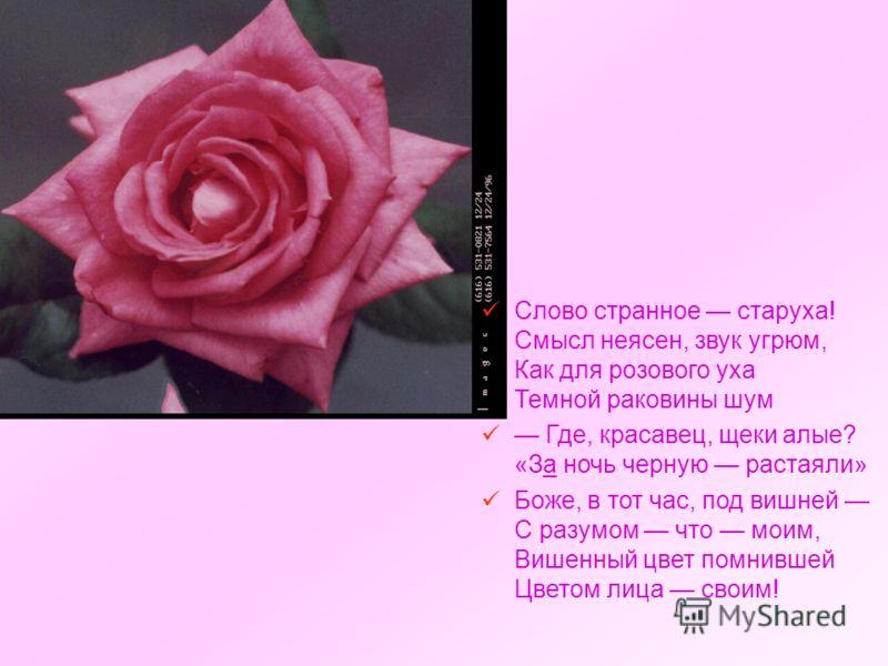 Слово странное старуха! Смысл неясен, звук угрюм, Как для розового уха Темной раковины шум Где, красавец, щеки алые? «За ночь черную растаяли» Боже, в тот час, под вишней С разумом что моим, Вишенный цвет помнившей Цветом лица своим!