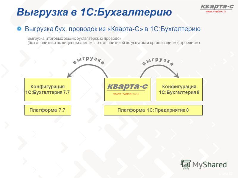 слайд 22 Выгрузка в 1С:Бухгалтерию Выгрузка бух. проводок из «Кварта-С» в 1С:Бухгалтерию Конфигурация 1С:Бухгалтерия 8 Платформа 1С:Предприятие 8 Конфигурация 1С:Бухгалтерия 7.7 Платформа 7.7 Выгрузка итоговых общих бухгалтерских проводок (без аналит