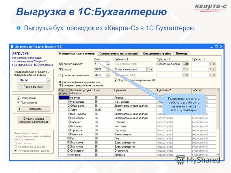 слайд 23 Выгрузка в 1С:Бухгалтерию Выгрузка бух. проводок из «Кварта-С» в 1С:Бухгалтерию Произвольные счета, субсчета и субконто из плана счетов в 1С:Бухгалтерии