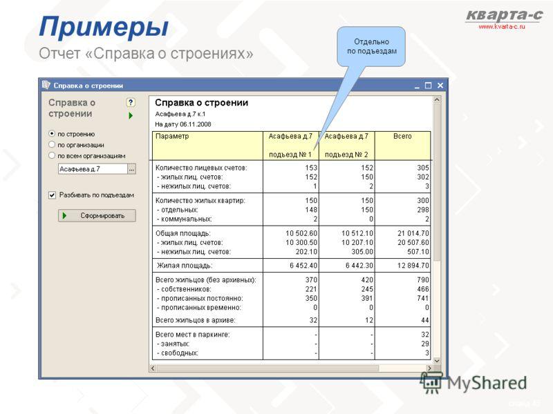 слайд 45 Примеры Отчет «Справка о строениях» Отдельно по подъездам