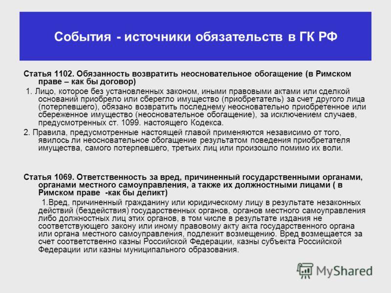 События - источники обязательств в ГК РФ Статья 1102. Обязанность возвратить неосновательное обогащение (в Римском праве – как бы договор) 1. Лицо, которое без установленных законом, иными правовыми актами или сделкой оснований приобрело или сберегло