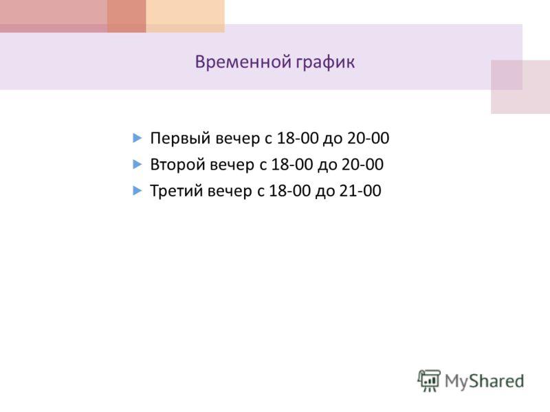 Временной график Первый вечер с 18-00 до 20-00 Второй вечер с 18-00 до 20-00 Третий вечер с 18-00 до 21-00