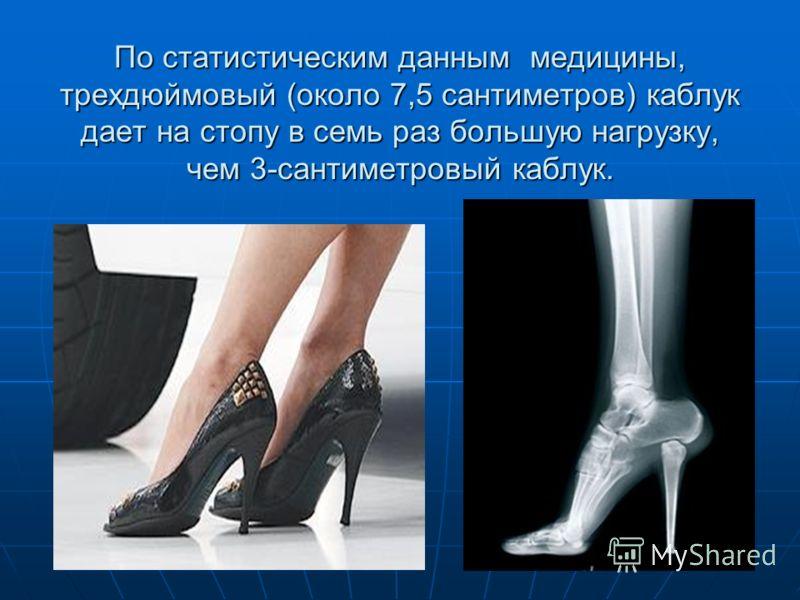 По статистическим данным медицины, трехдюймовый (около 7,5 сантиметров) каблук дает на стопу в семь раз большую нагрузку, чем 3-сантиметровый каблук.
