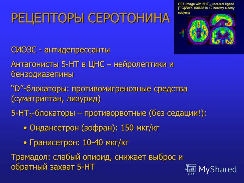 РЕЦЕПТОРЫ СЕРОТОНИНА СИОЗС - антидепрессанты Антагонисты 5-НТ в ЦНС – нейролептики и бензодиазепины D-блокаторы: противомигренозные средства (суматриптан, лизурид) 5-НТ 3 -блокаторы – противорвотные (без седации!): Ондансетрон (зофран): 150 мкг/кг Он