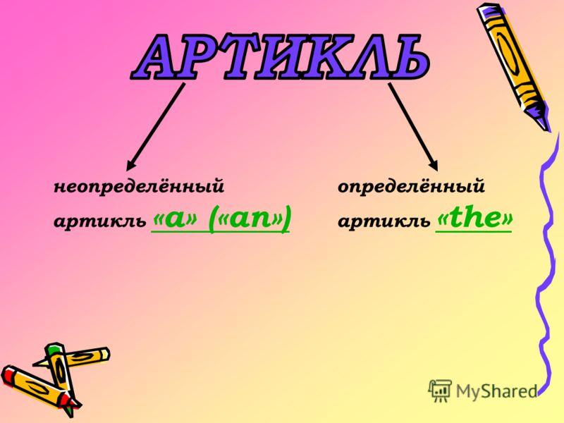 неопределённый артикль «a» («an») «a» («an») определённый артикль «the» «the»