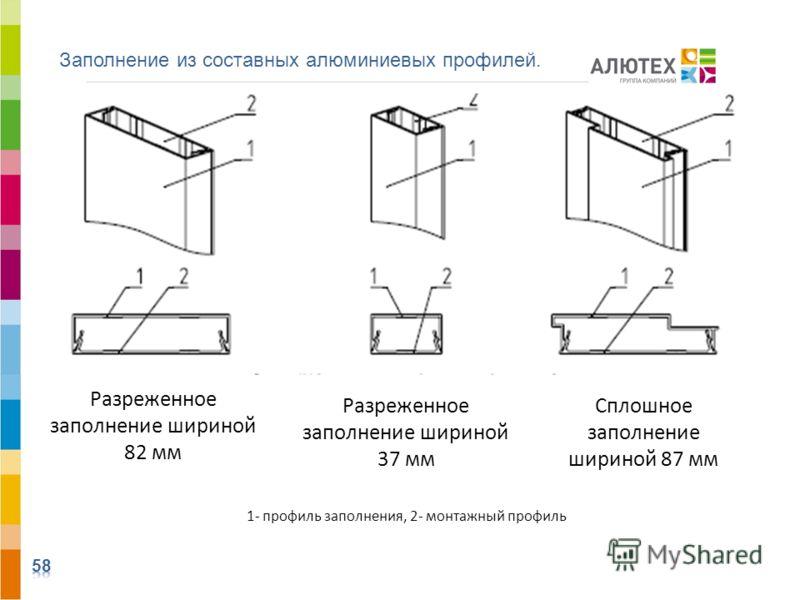 1- профиль заполнения, 2- монтажный профиль Заполнение из составных алюминиевых профилей. Разреженное заполнение шириной 82 мм Разреженное заполнение шириной 37 мм Сплошное заполнение шириной 87 мм