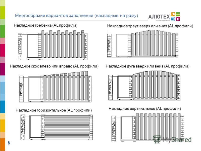 Многообразие вариантов заполнения (накладные на раму) Накладное скос влево или вправо (AL профили) Накладное гребенка (AL профили) Накладное треуг. вверх или вниз (AL профили) Накладное дуга вверх или вниз (AL профили) Накладное вертикальное (AL проф