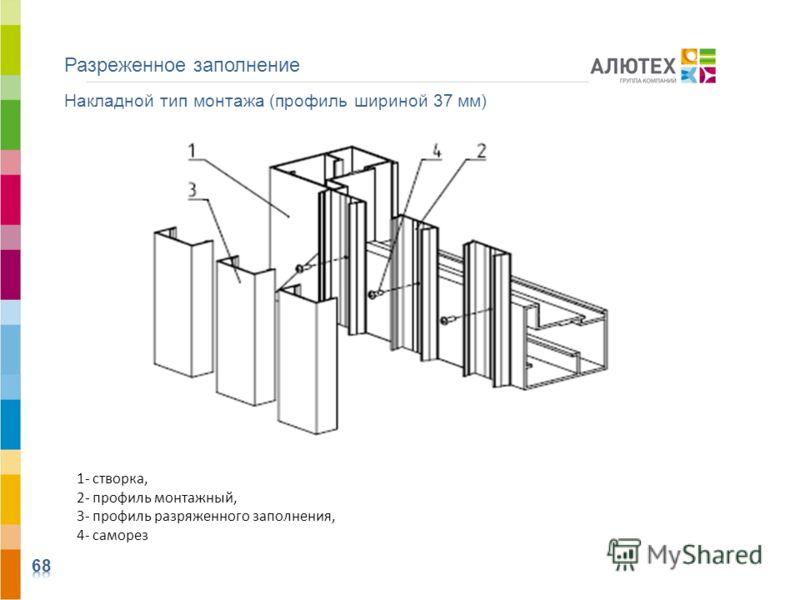 Разреженное заполнение Накладной тип монтажа (профиль шириной 37 мм) 1- створка, 2- профиль монтажный, 3- профиль разряженного заполнения, 4- саморез