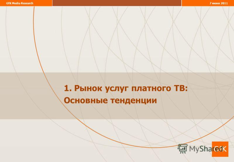 GfK Media Research7 июня 2011 1. Рынок услуг платного ТВ: Основные тенденции