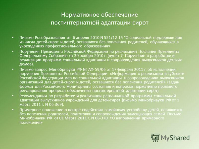 Нормативное обеспечение постинтернатной адаптации сирот Письмо Рособразования от 6 апреля 2010 N 551/12-15
