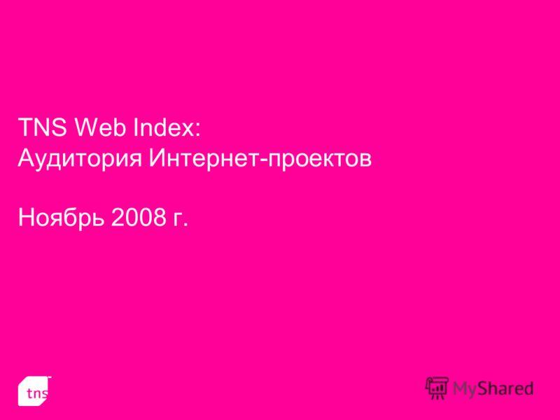 TNS Web Index: Аудитория Интернет-проектов Ноябрь 2008 г.