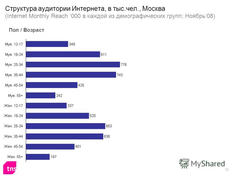 13 Структура аудитории Интернета, в тыс.чел., Москва (Internet Monthly Reach 000 в каждой из демографических групп; Ноябрь08) Пол / Возраст