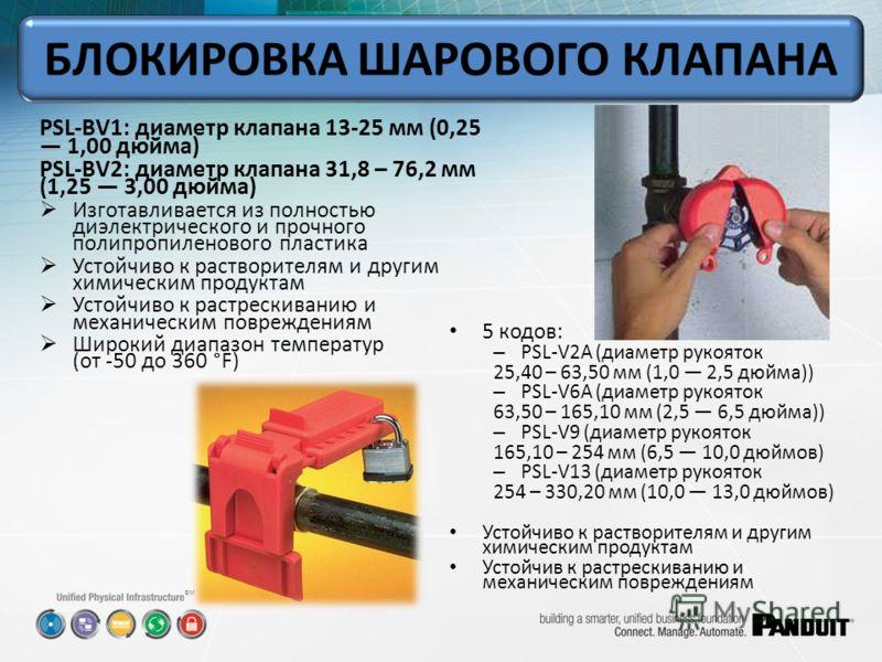 SM PSL-BV1: диаметр клапана 13-25 мм (0,25 1,00 дюйма) PSL-BV2: диаметр клапана 31,8 – 76,2 мм (1,25 3,00 дюйма) Изготавливается из полностью диэлектрического и прочного полипропиленового пластика Устойчиво к растворителям и другим химическим продукт