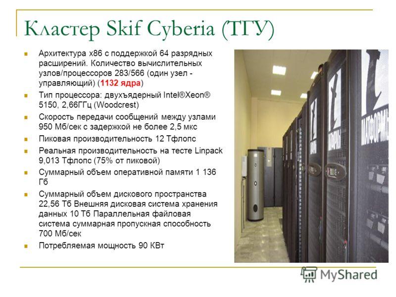 Кластер Skif Cyberia (ТГУ) Архитектура x86 с поддержкой 64 разрядных расширений. Количество вычислительных узлов/процессоров 283/566 (один узел - управляющий) (1132 ядра) Тип процессора: двухъядерный Intel®Xeon® 5150, 2,66ГГц (Woodcrest) Скорость пер