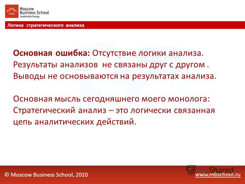 www.mbschool.ru Логика стратегического анализа © Moscow Business School, 2010 Основная ошибка: Отсутствие логики анализа. Результаты анализов не связаны друг с другом. Выводы не основываются на результатах анализа. Основная мысль сегодняшнего моего м