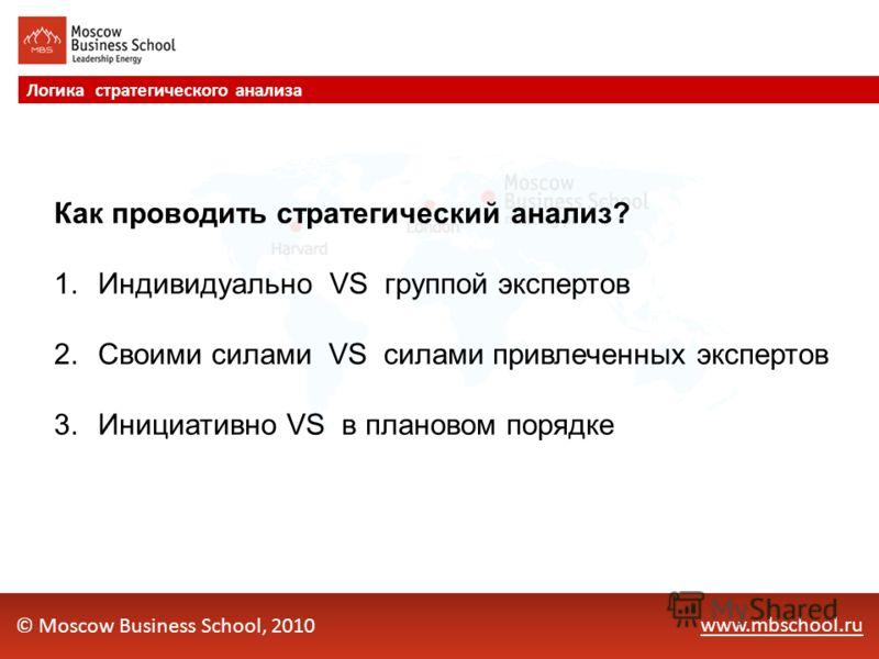 www.mbschool.ru Логика стратегического анализа © Moscow Business School, 2010 Как проводить стратегический анализ? 1.Индивидуально VS группой экспертов 2.Своими силами VS силами привлеченных экспертов 3.Инициативно VS в плановом порядке