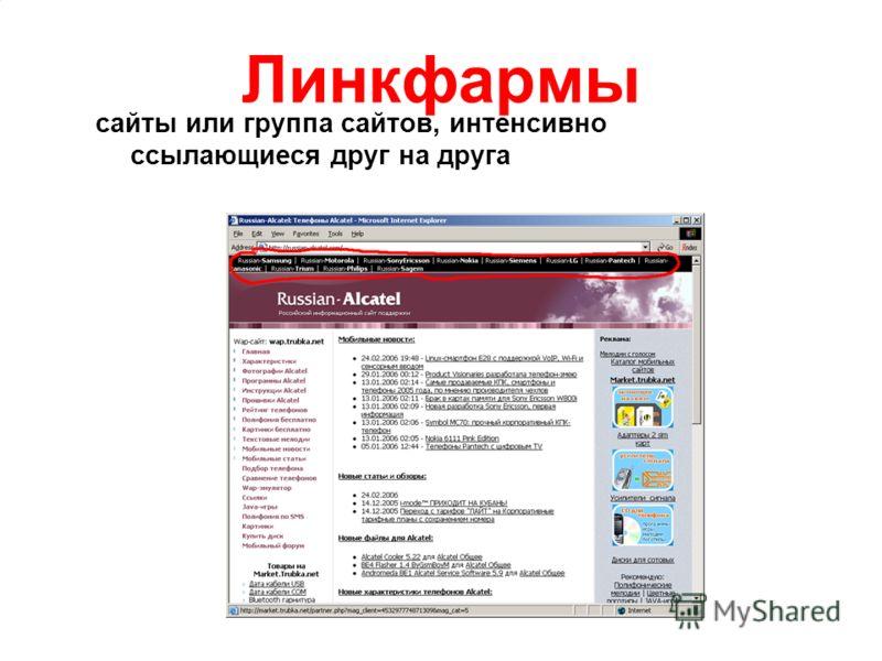 Линкфармы сайты или группа сайтов, интенсивно ссылающиеся друг на друга