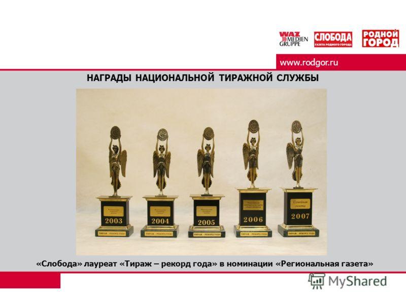 www.rodgor.ru НАГРАДЫ НАЦИОНАЛЬНОЙ ТИРАЖНОЙ СЛУЖБЫ «Слобода» лауреат «Тираж – рекорд года» в номинации «Региональная газета»