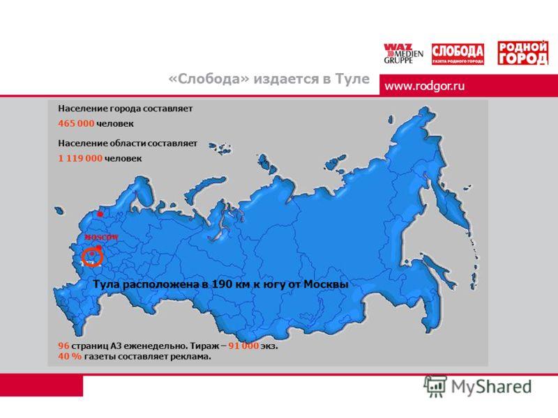 www.rodgor.ru «Слобода» издается в Туле Население города составляет 465 000 человек Население области составляет 1 119 000 человек Тула расположена в 190 км к югу от Москвы 96 страниц А3 еженедельно. Тираж – 91 000 экз. 40 % газеты составляет реклама