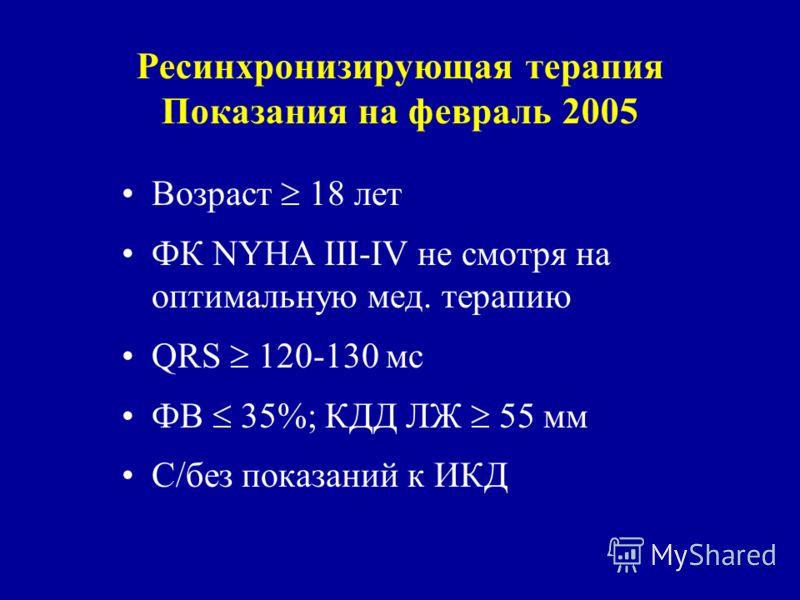 Ресинхронизирующая терапия Показания на февраль 2005 Возраст 18 лет ФК NYHA III-IV не смотря на оптимальную мед. терапию QRS 120-130 мс ФВ 35%; КДД ЛЖ 55 мм С/без показаний к ИКД