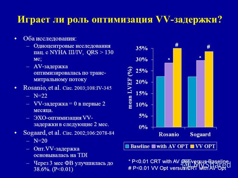Играет ли роль оптимизация VV-задержки? Оба исследования: –Одноцентровые исследования пац. с NYHA III/IV, QRS > 130 мс; –AV-задержка оптимизировалась по транс- митральному потоку Rosanio, et al. Circ. 2003;108:IV-345 –N=22 –VV-задержка = 0 в первые 2