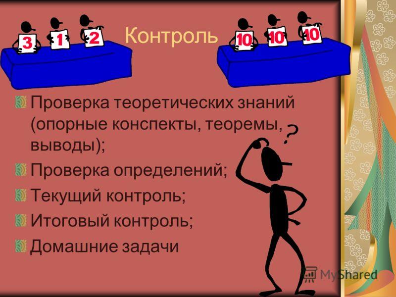 Контроль Проверка теоретических знаний (опорные конспекты, теоремы, выводы); Проверка определений; Текущий контроль; Итоговый контроль; Домашние задачи