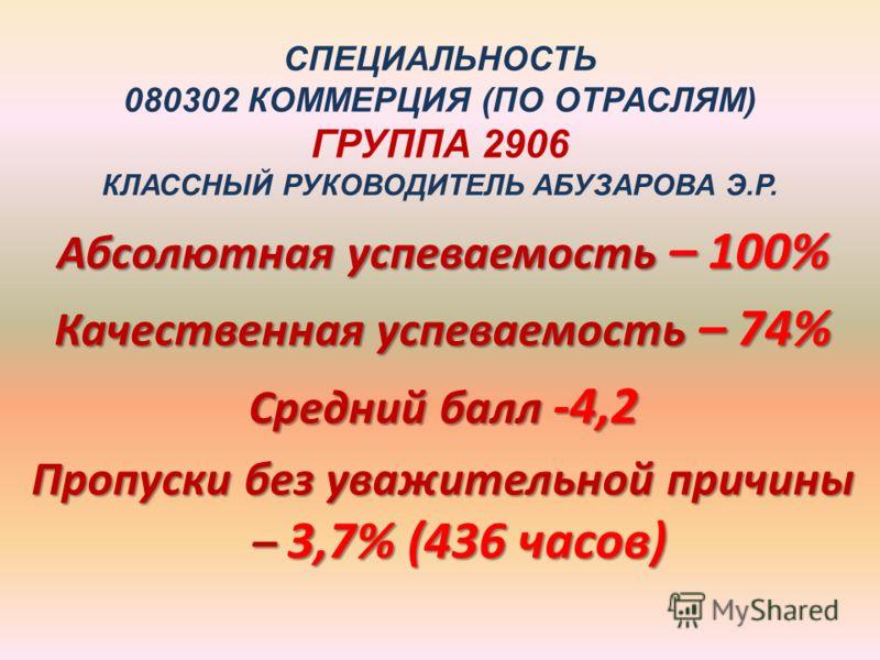 СПЕЦИАЛЬНОСТЬ 080302 КОММЕРЦИЯ (ПО ОТРАСЛЯМ) ГРУППА 2906 КЛАССНЫЙ РУКОВОДИТЕЛЬ АБУЗАРОВА Э.Р. Абсолютная успеваемость – 100% Качественная успеваемость – 74% Средний балл -4,2 Пропуски без уважительной причины – 3,7% (436 часов)
