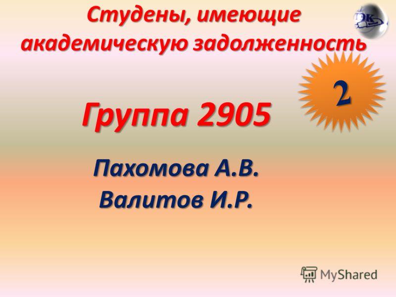 Студены, имеющие академическую задолженность Группа 2905 Пахомова А.В. Валитов И.Р. 22