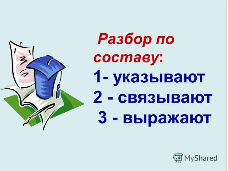 Разбор по составу: 1- указывают 2 - связывают 3 - выражают