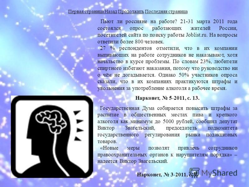 Пьют ли россияне на работе? 21-31 марта 2011 года состоялся опрос работающих жителей России, посетителей сайта по поиску работы Joblist.ru. На вопросы ответили более 800 человек. 27 % респондентов отметили, что в их компании выпивающих на работе сотр