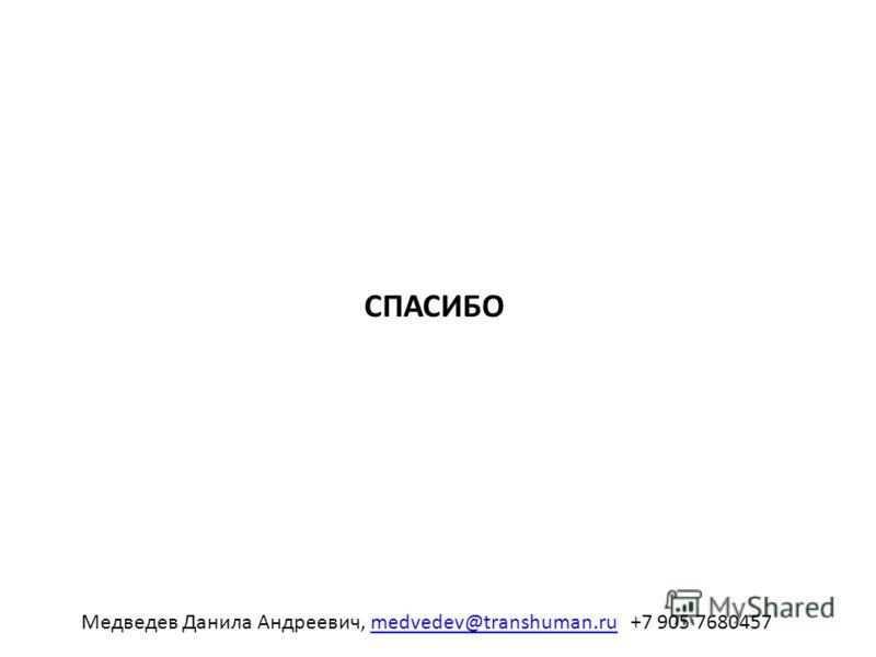 СПАСИБО Медведев Данила Андреевич, medvedev@transhuman.ru +7 905 7680457medvedev@transhuman.ru