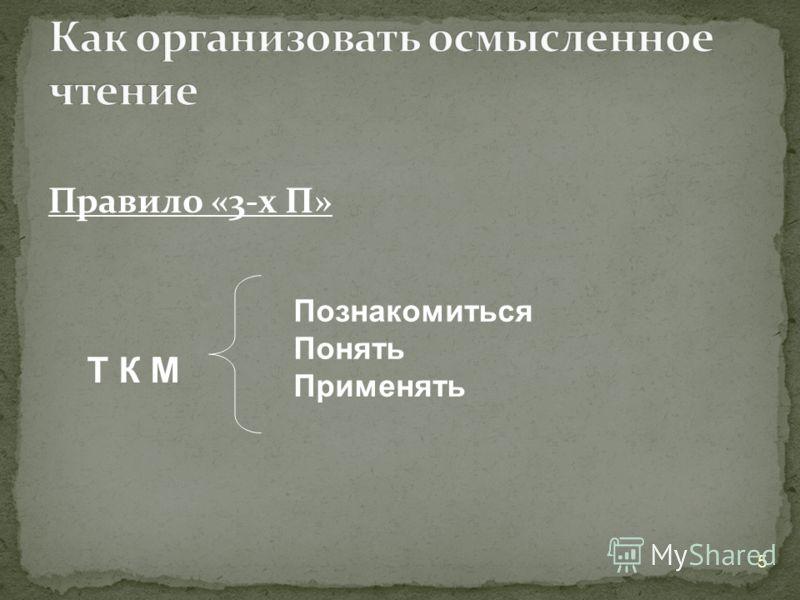 Правило «3-х П» 5 Т К М Познакомиться Понять Применять