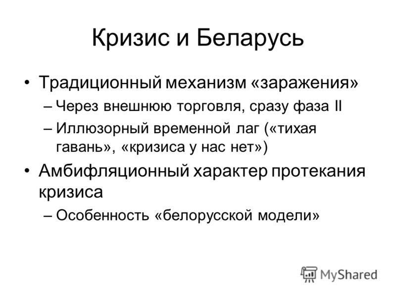Кризис и Беларусь Традиционный механизм «заражения» –Через внешнюю торговля, сразу фаза II –Иллюзорный временной лаг («тихая гавань», «кризиса у нас нет») Амбифляционный характер протекания кризиса –Особенность «белорусской модели»