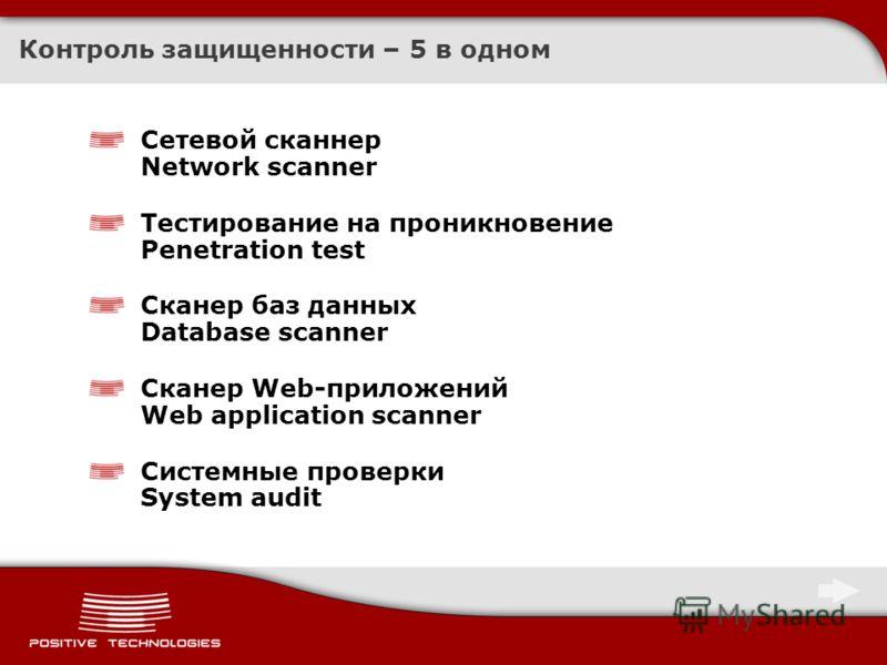 Контроль защищенности – 5 в одном Сетевой сканнер Network scanner Тестирование на проникновение Penetration test Сканер баз данных Database scanner Сканер Web-приложений Web application scanner Системные проверки System audit