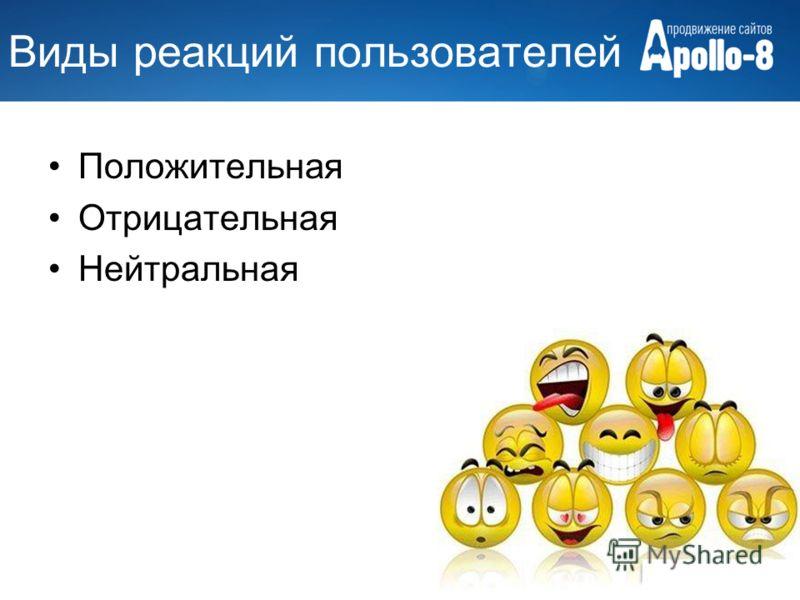 Виды реакций пользователей Положительная Отрицательная Нейтральная
