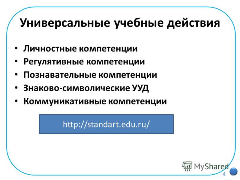 Универсальные учебные действия Личностные компетенции Регулятивные компетенции Познавательные компетенции Знаково-символические УУД Коммуникативные компетенции http://standart.edu.ru/ 4