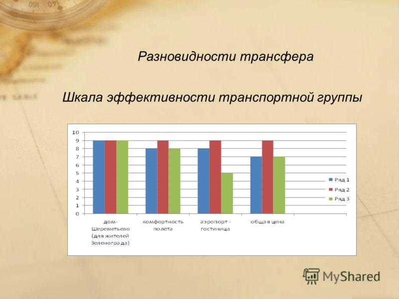 Разновидности трансфера Шкала эффективности транспортной группы