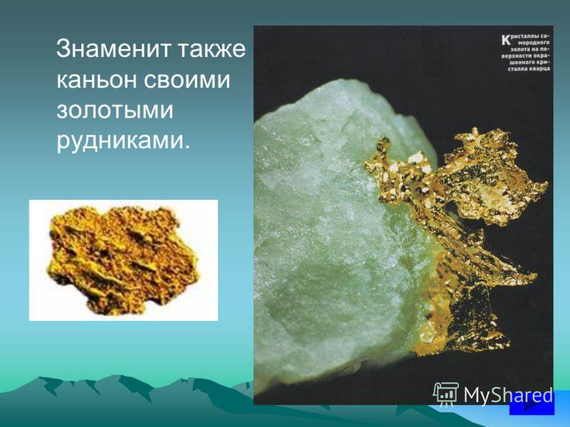 Знаменит также каньон своими золотыми рудниками.