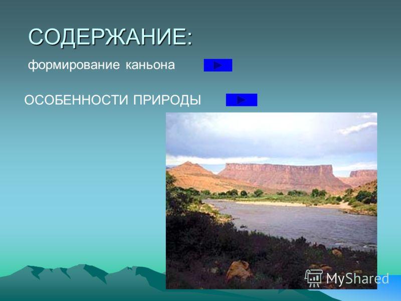 СОДЕРЖАНИЕ: формирование каньона ОСОБЕННОСТИ ПРИРОДЫ