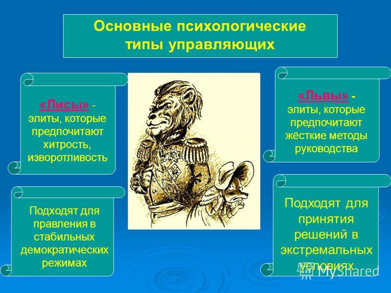 Основные психологические типы управляющих «Лисы» - элиты, которые предпочитают хитрость, изворотливость Подходят для правления в стабильных демократических режимах «Львы» - элиты, которые предпочитают жёсткие методы руководства Подходят для принятия