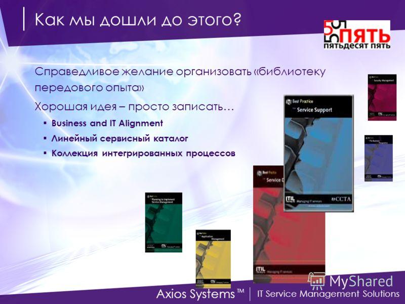 IT Service Management Solutions Axios Systems TM Как мы дошли до этого? Справедливое желание организовать «библиотеку передового опыта» Хорошая идея – просто записать… Business and IT Alignment Линейный сервисный каталог Коллекция интегрированных про