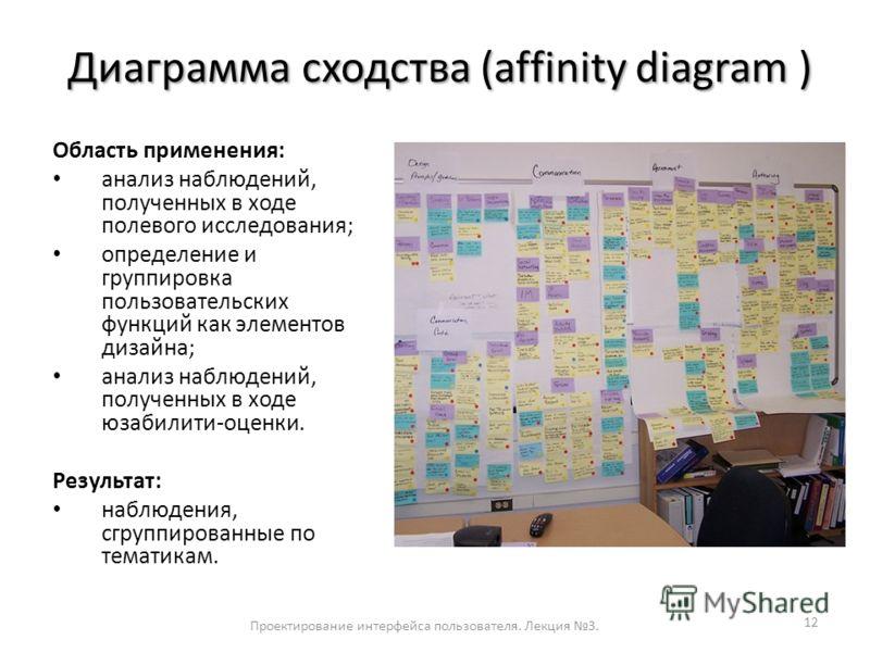 Диаграмма сходства (affinity diagram ) Диаграмма сходства (affinity diagram ) 12 Область применения: анализ наблюдений, полученных в ходе полевого исследования; определение и группировка пользовательских функций как элементов дизайна; анализ наблюден