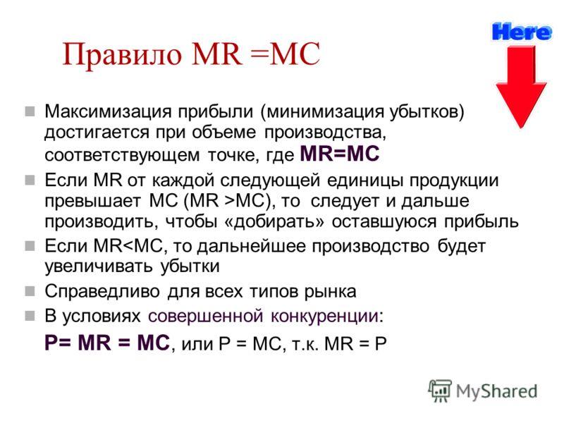 Правило MR =MC Максимизация прибыли (минимизация убытков) достигается при объеме производства, соответствующем точке, где MR=MC Если MR от каждой след