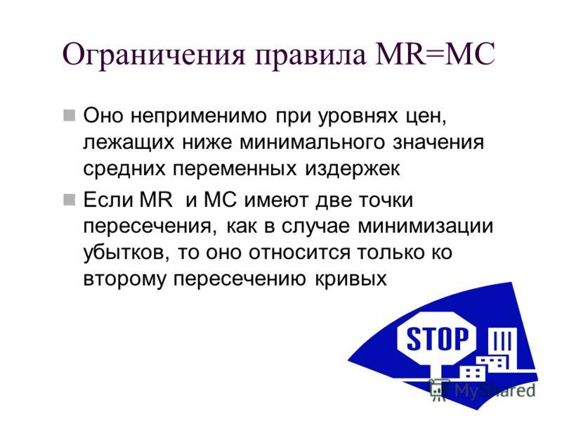 Ограничения правила MR=MC Оно неприменимо при уровнях цен, лежащих ниже минимального значения средних переменных издержек Если MR и MC имеют две точки пересечения, как в случае минимизации убытков, то оно относится только ко второму пересечению кривы