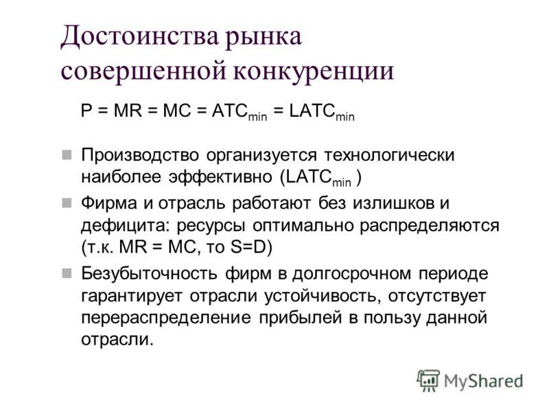 Достоинства рынка совершенной конкуренции P = MR = MC = ATC min = LATC min Производство организуется технологически наиболее эффективно (LATC min ) Фи